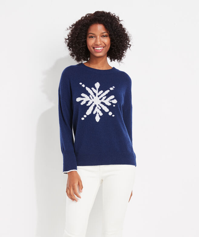 Lofty Cashmere Snowflake Crewneck Sweater