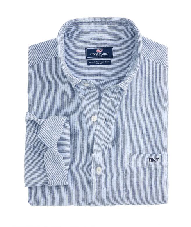 Classic Fit Linen Stripe Tucker Shirt