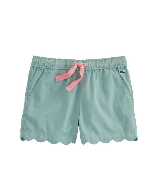 Girls Garment-Dyed Scallop Hem Pull-On Shorts