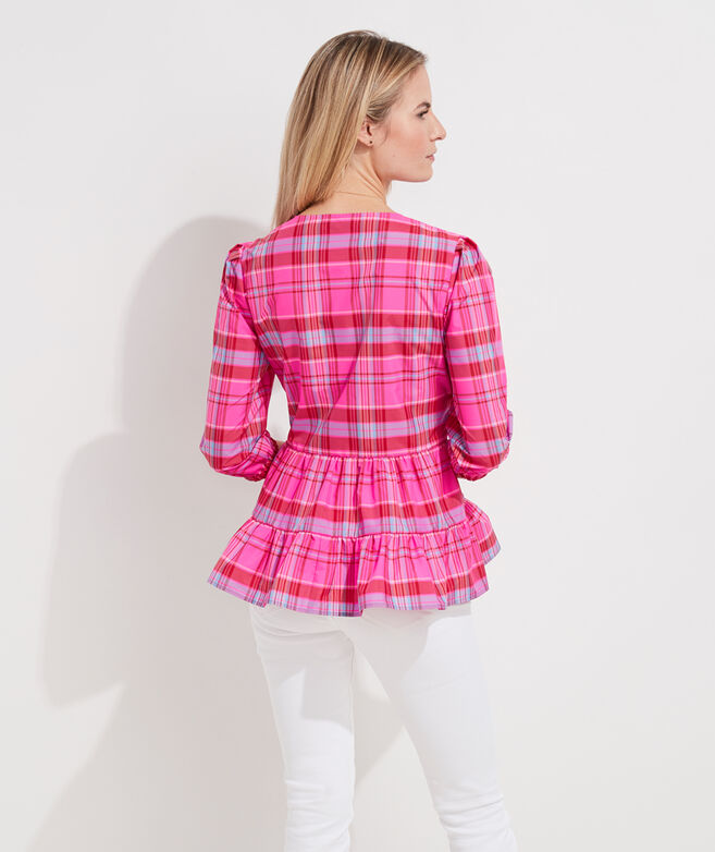 vv x Tuckernuck Taffeta Party Plaid Tiered Top