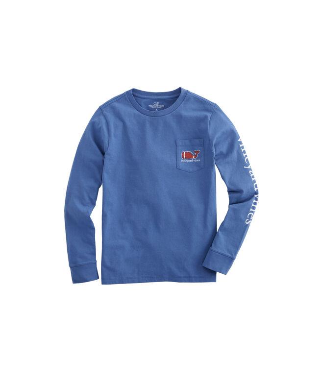 Boys Long-Sleeve Football Whale Pocket T-Shirt