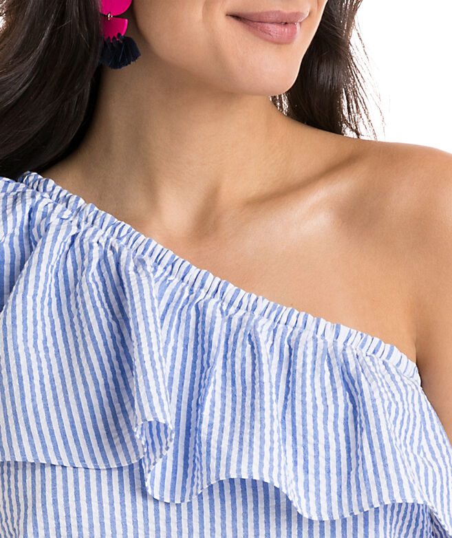 Seersucker One Shoulder Ruffle Top