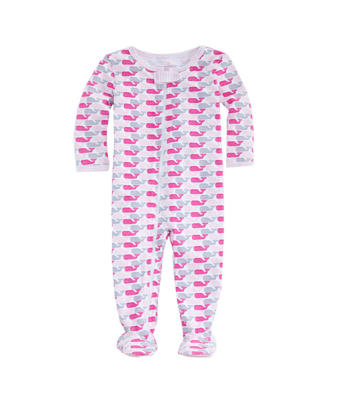 Baby Ticking Whale Print Footed One-Piece