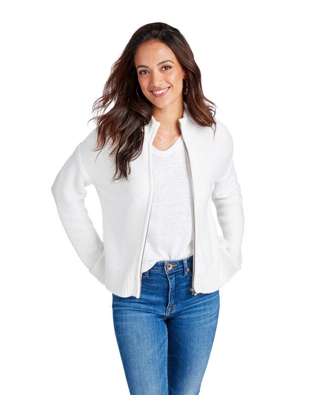 Full-Zip Mock Sweater
