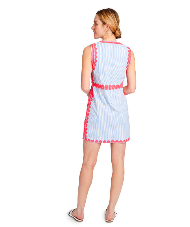 Striped Pop Embroidered Shift Dress