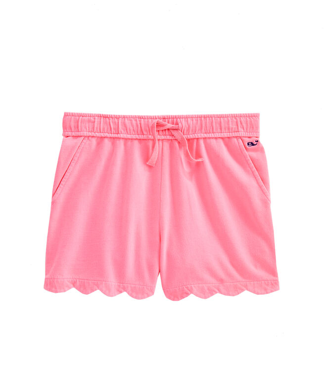 Girls Garment-Dyed Knit Scallop Shorts
