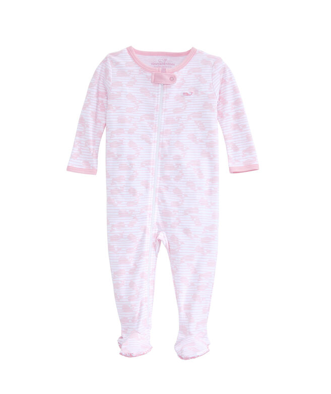 Baby Stripe Whale Footed One-Piece