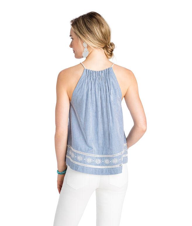 Sandbar Stripe Gathered Neck Embroidered Top