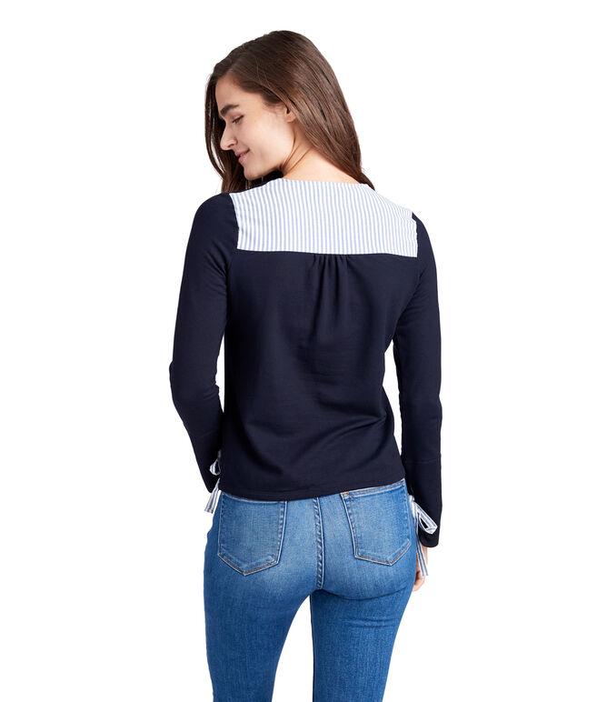 Mixed Media Tie Sleeve Sweatshirt