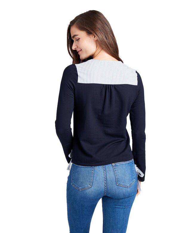 5f14b2d587 Shop Mixed Media Tie Sleeve Sweatshirt at vineyard vines