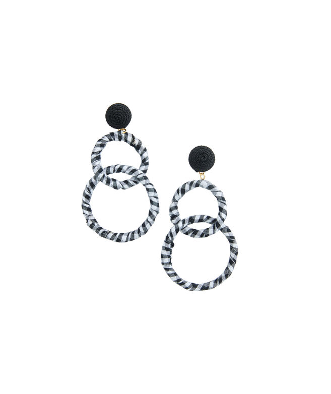 Gingham Hoop Earrings