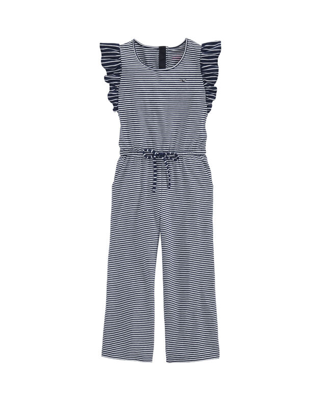 Girls' Vineyard Feeder Stripe Edgartown Ruffle Jumpsuit