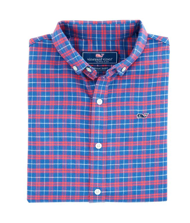 Boys Cotton Flannel Whale Shirt