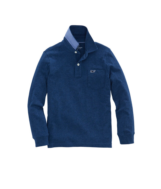 Boys Long-Sleeve Solid Jersey Polo