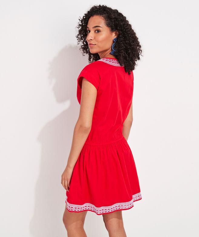 Embroidered Tie-Waist Dress