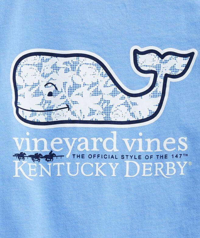 Girls' Kentucky Derby Gingham Rose Whale Short-Sleeve Pocket Tee