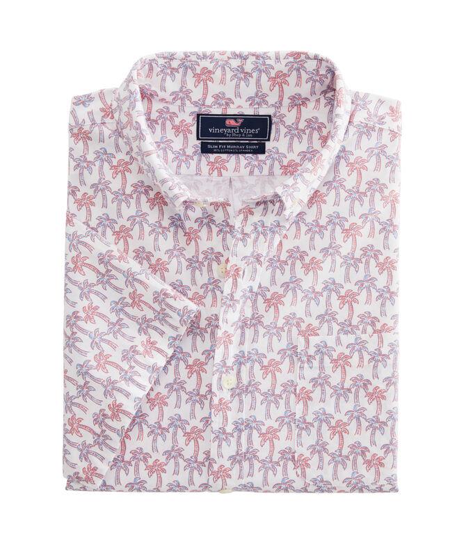 Slim Fit Mini Palm Pattern Short-Sleeve Murray Shirt