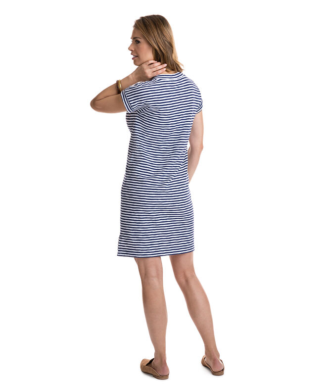 Stripe Knit V-Neck Tee Shirt Dress