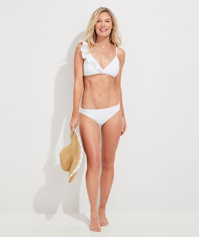 Vineyard Seersucker Ruffle Bikini Top