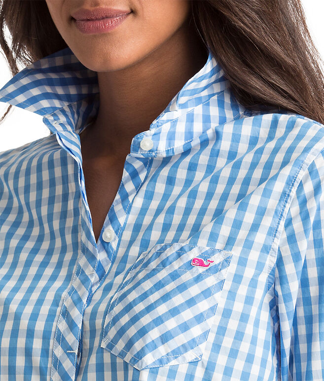 Relaxed Seabreeze Gingham Pocket Button-Up