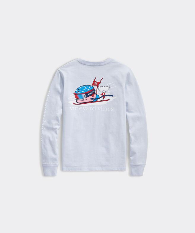 Girls' Ski Race Whale Long-Sleeve Pocket Tee