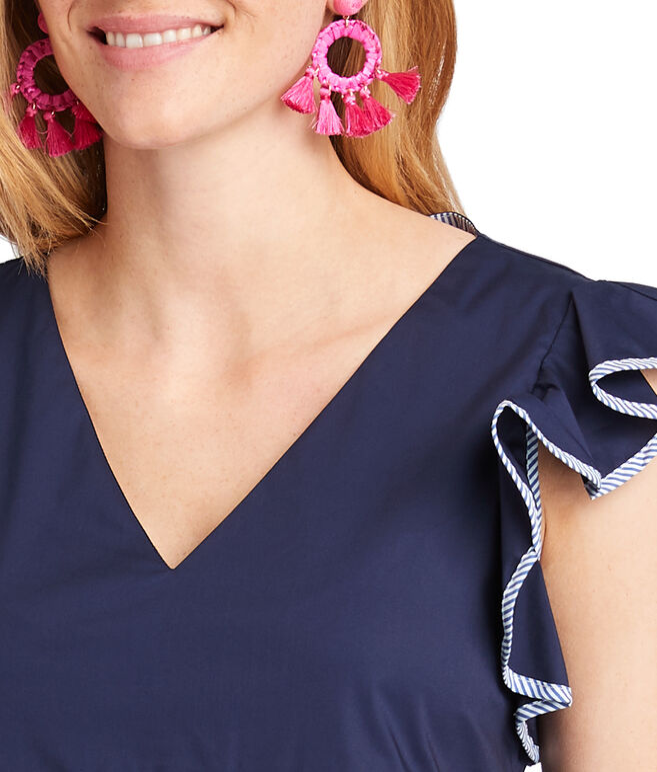 Solid Flutter Sleeve Top