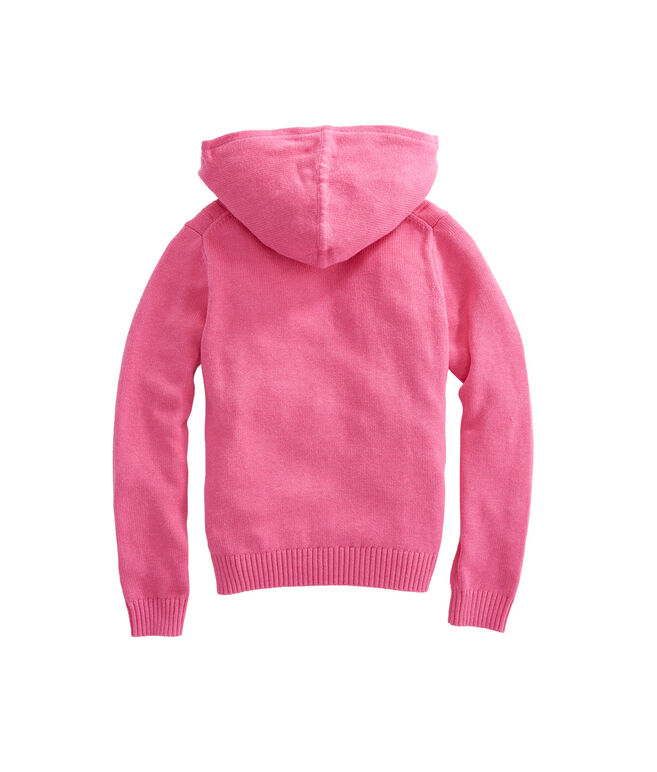 Girls Cotton Cable Zip Hooded Sweater