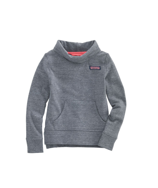 Girls Tri-Blend Brushed Back Funnel Neck Shep Shirt