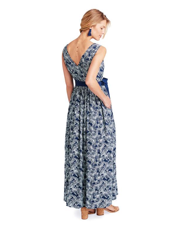 Plumeria Print Maxi Dress