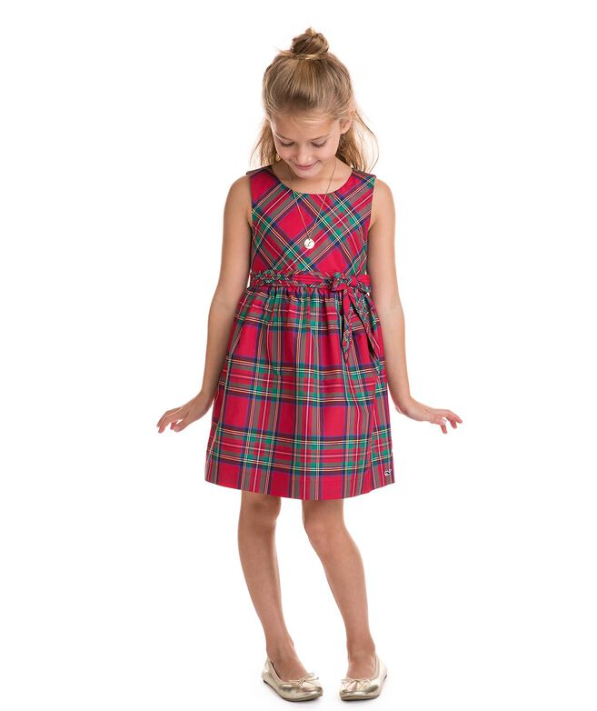 Girls Jolly Plaid Holiday Dress (2T-7)