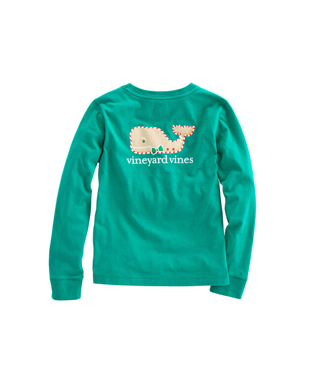 Girls Long-Sleeve Gingerbread Whale Pocket Tee