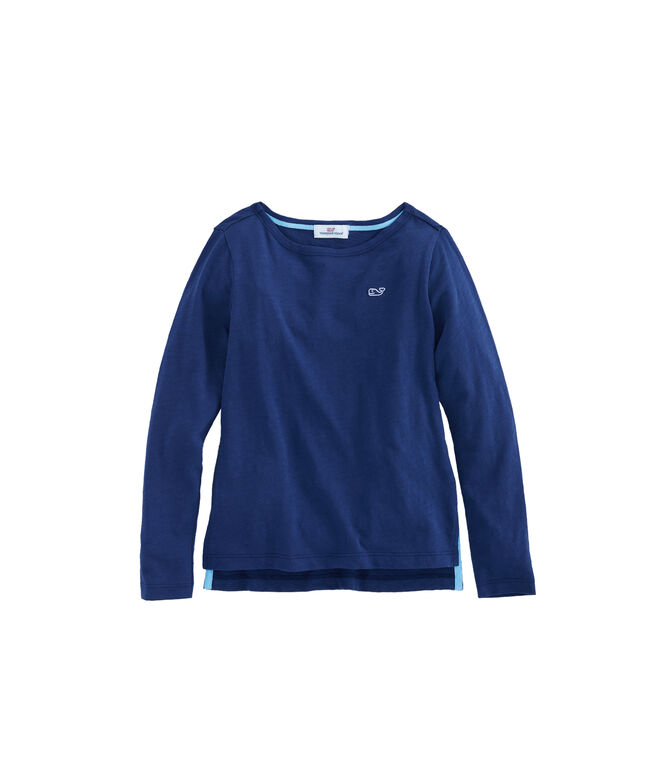 Girls Long-Sleeve Boatneck Simple Tee
