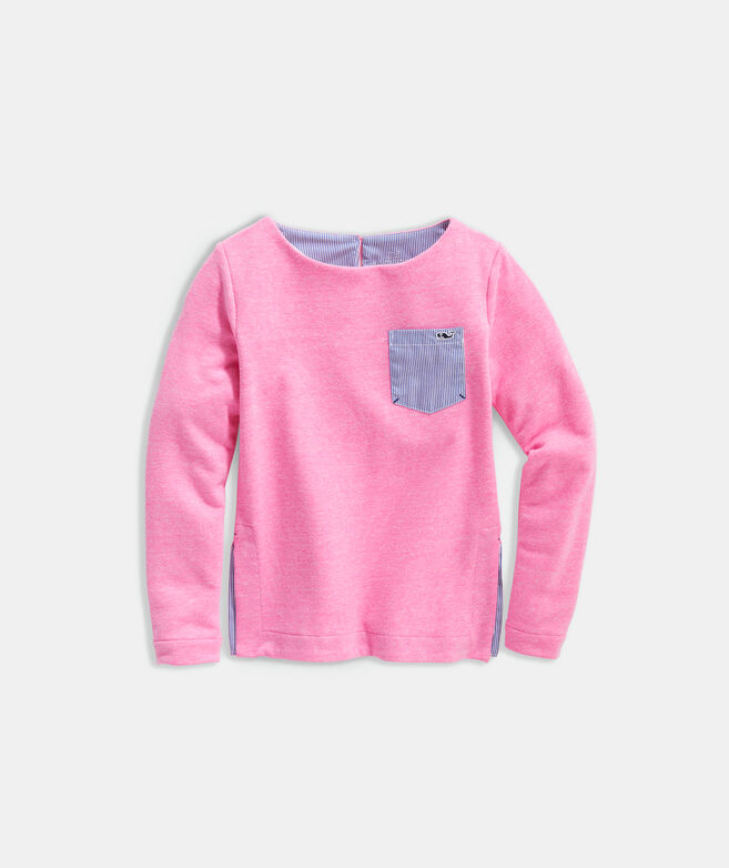 Girls' Tri-Blend Fleece Sweatshirt Tunic with Pocket