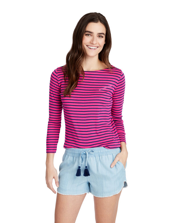 Striped Embroidered Simple Boatneck Tee