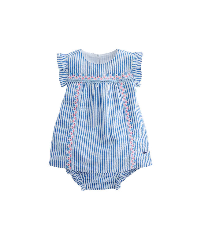 Baby Seersucker Embroidered Shift Dress Set