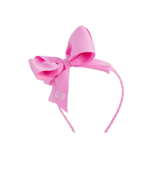 Girls Solid Grosgrain Bow Headband