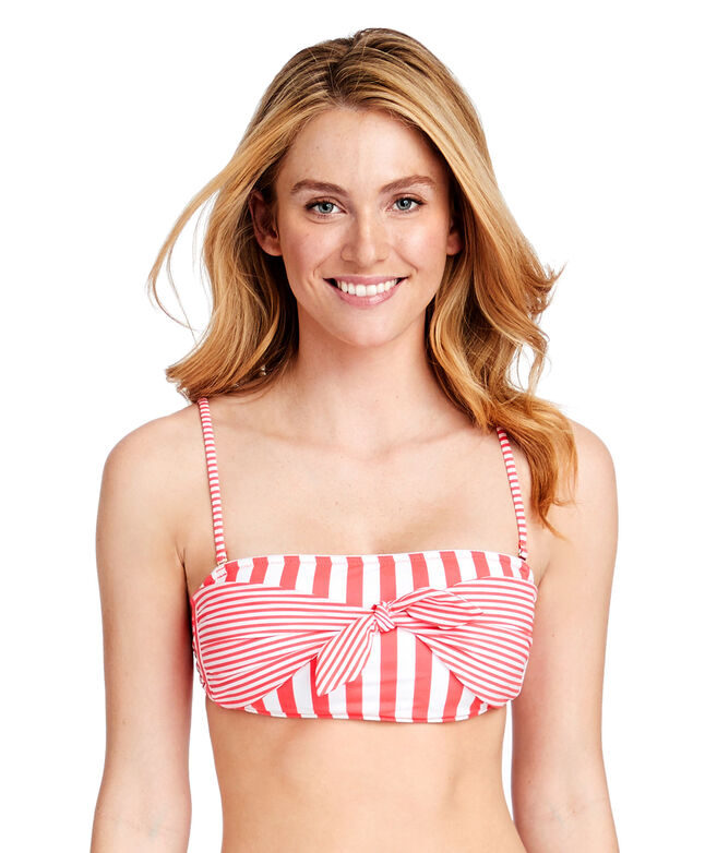 Favorite Stripe Tie Front Bandeau Top