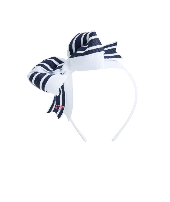 Girls Break Stripe Bow Headband