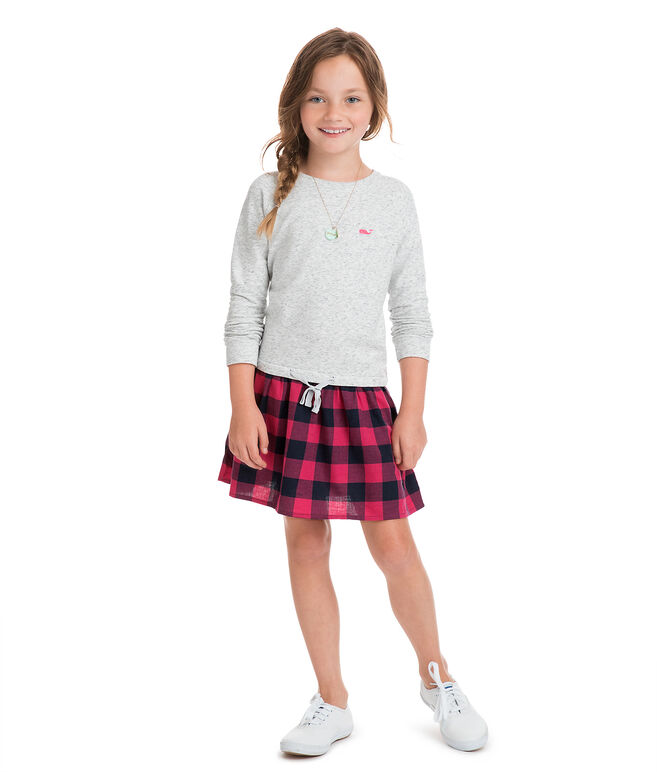 Girls Carmel Buffalo Check Sweatshirt Dress