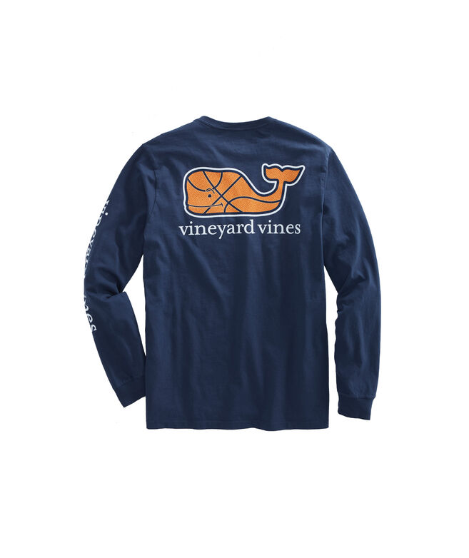 Long-Sleeve Basketball Character Whale Pocket T-Shirt
