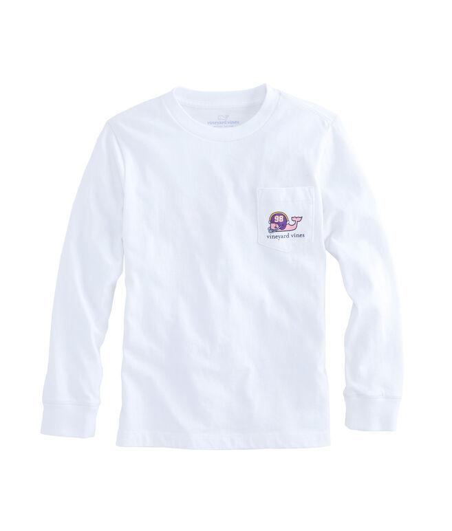 Boys Long-Sleeve Old School Football Whale Pocket T-Shirt
