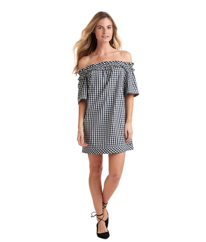 Gingham Off The Shoulder Dress