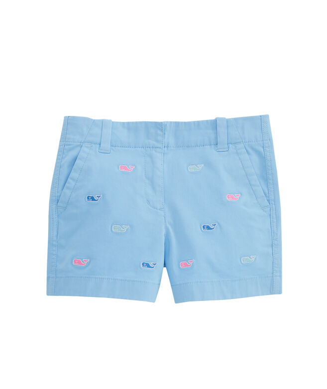 Girls Multi Whale Embroidered Every Day Shorts