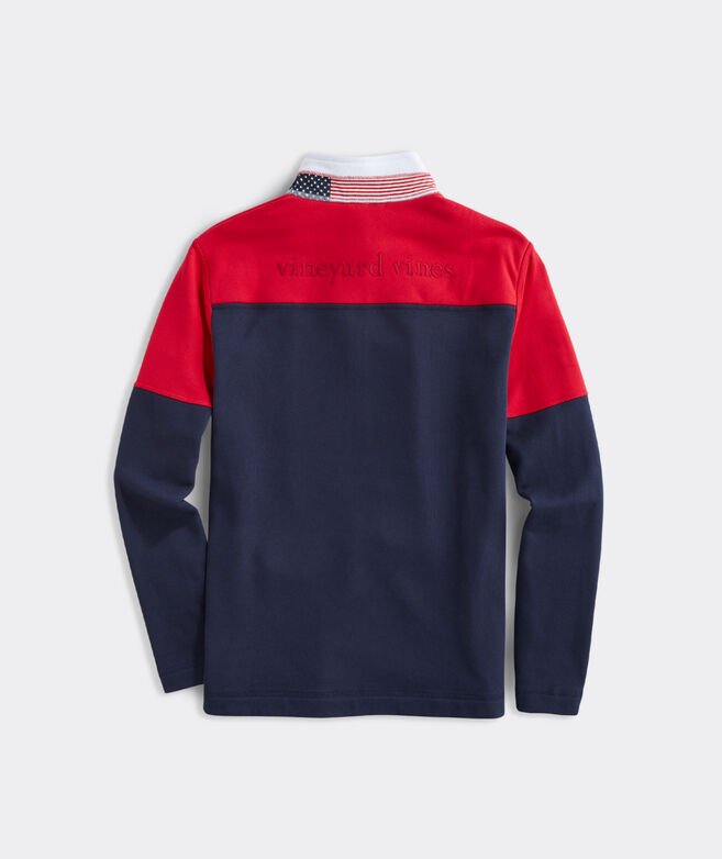 USA Colorblock Mockneck Pullover