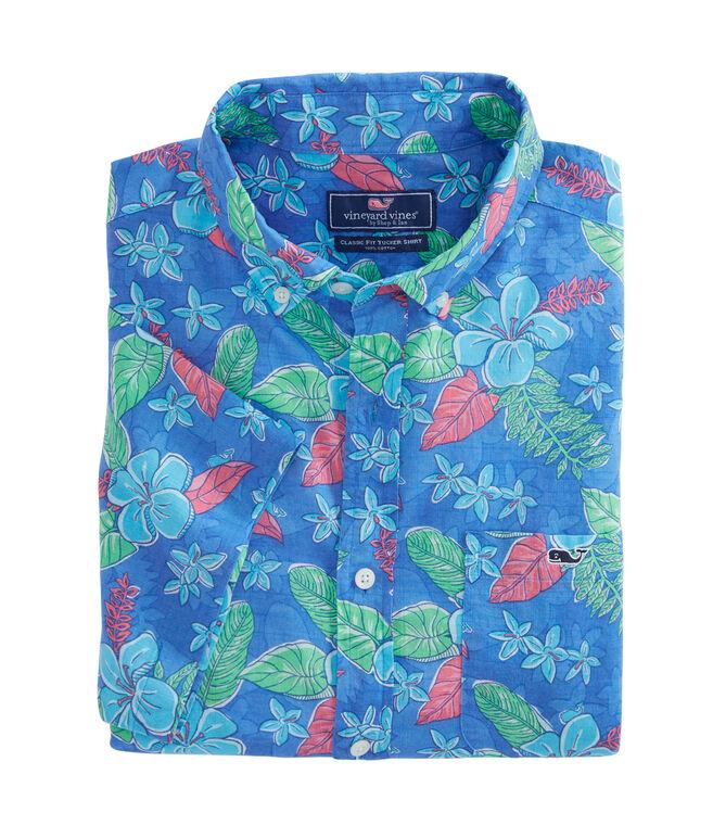 Short-Sleeve Cay Floral Classic Tucker Shirt
