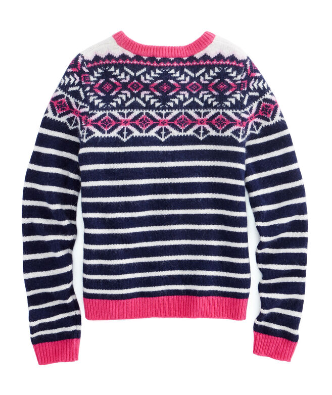 Shop Girls Fair Isle Stripe Sweater at vineyard vines