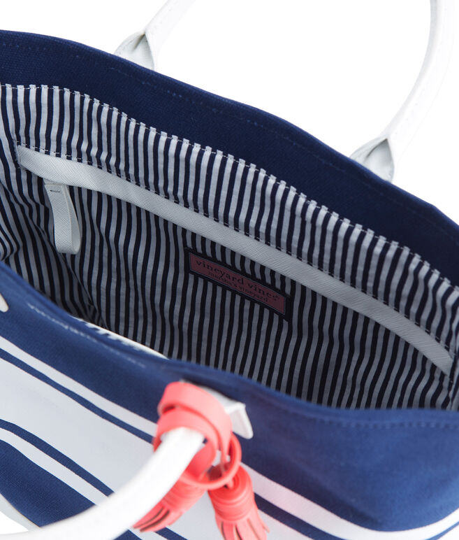 Striped Canvas Crossbody Tote