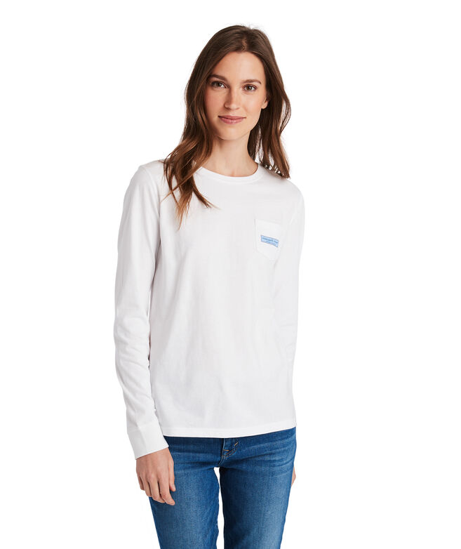 Long-Sleeve Linear Whale Tail Logo Box Fill Pocket Tee