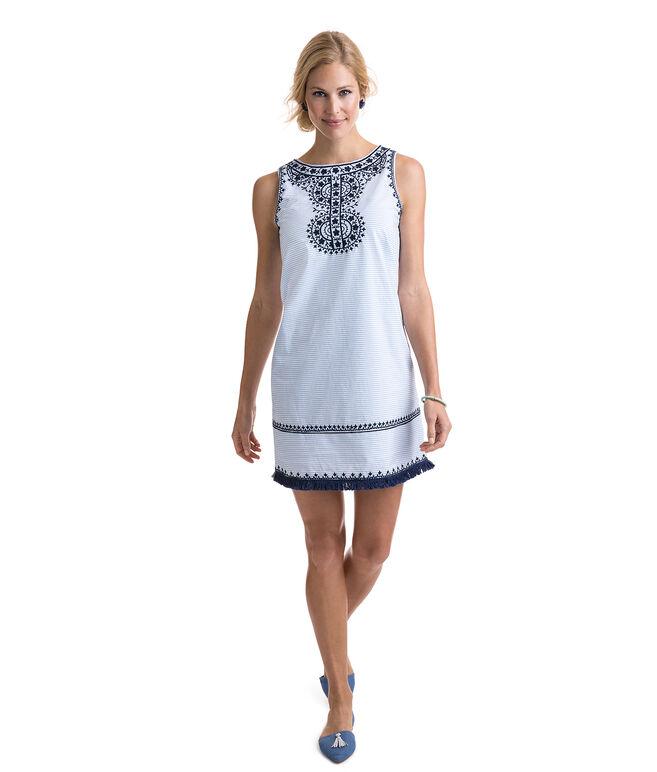Breezy Stripe Embroidered Shift Dress