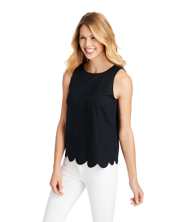 Scalloped Hem Shell Top